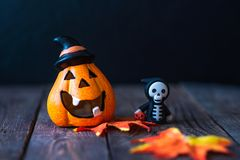 Pumpkin with a face and a skeleton in a hoodie stock photo