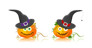 Pumpkin in hat halloween Royalty Free Stock Photo