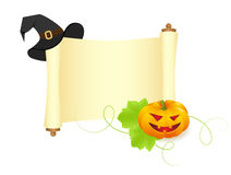 Pumpkin and hat on a manuscript Royalty Free Stock Photos
