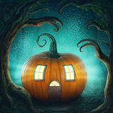 Pumpkin haunted house. In the wood stock illustration