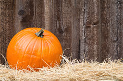 Pumpkin on hay Royalty Free Stock Photos