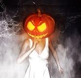 Pumpkin Head. 3d illustration of Woman halloween pumpkin head making silence gesture,Mixed media Stock Photography