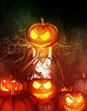 Pumpkin Head. 3d illustration of Woman halloween pumpkin head making silence gesture,Mixed media Stock Photo