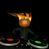 Pumpkin Head DJ 1. Flaming Pumpkin Head is in the House and mixing up some Halloween horror. Turntables with vinyl albums stock illustration