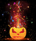 Pumpkin head and fireworks. Exploding Jack O' Lantern with sparks, candy and confetti. Halloween fireworks Royalty Free Stock Image