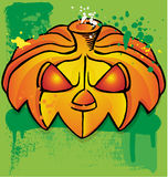 Pumpkin head. With green ink background Royalty Free Stock Photo