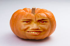 Pumpkin Head. Halloween pumpkin with a human face Royalty Free Stock Photos