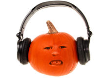 Pumpkin Head with Headphones (2 of 2) Stock Images