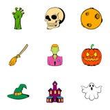 Pumpkin head icons set, cartoon style Stock Images