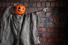 Pumpkin head monster sign hand space halloween Stock Image