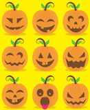 Pumpkin head set Stock Images