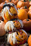 Pumpkin Head Totem Pole Stock Photo