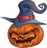 Pumpkin head with witch hat isolated Royalty Free Stock Images