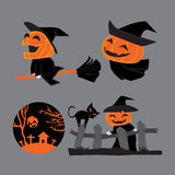 Pumpkin head witches on Halloween Royalty Free Stock Image