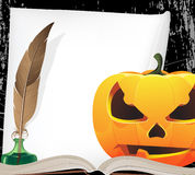 Pumpkin head and writing equipment Stock Images
