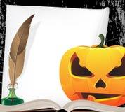 Pumpkin head and writing equipment vector illustration