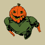 Pumpkin headed hero Royalty Free Stock Photo