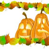 Pumpkin heads with leaves Stock Photo