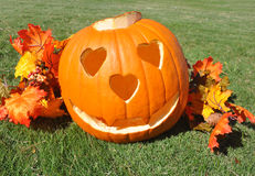 Pumpkin with heart eyes and nose Stock Image