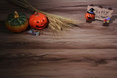 Pumpkin  helloween  table overhead corner frame with empty space Royalty Free Stock Photography