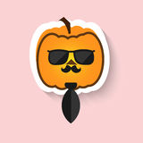 Pumpkin hipster in sunglasses and tie Stock Photos