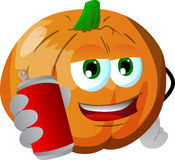 Pumpkin holding beer or soda can Royalty Free Stock Image