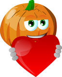Pumpkin holding a big red heart Stock Photography