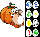 Pumpkin holding a big sack with variable signs Royalty Free Stock Photos