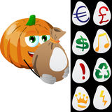 Pumpkin holding a big sack with variable signs Stock Images