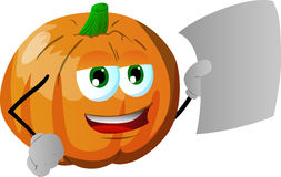 Pumpkin holding a blank paper Stock Images