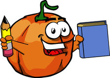 Pumpkin holding a book and a pencil Stock Photos