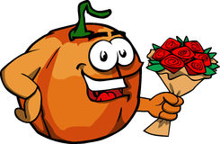 Pumpkin holding a bunch of flowers Royalty Free Stock Images