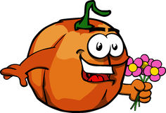 Pumpkin holding a bunch of flowers Royalty Free Stock Photography