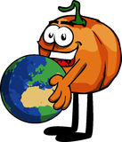 Pumpkin holding Earth Stock Photo