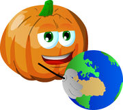 Pumpkin holding Earth Stock Image