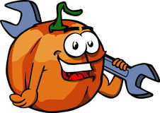 Pumpkin holding a huge wrench Royalty Free Stock Image