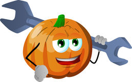 Pumpkin holding a huge wrench Stock Photography