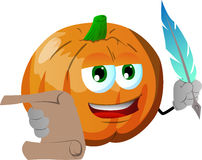 Pumpkin holding paper scroll and feather Stock Image