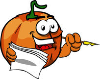 Pumpkin holding pen and papers Royalty Free Stock Image