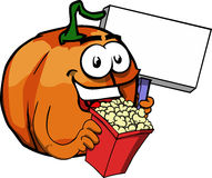 Pumpkin holding popcorn and blank board Royalty Free Stock Photo