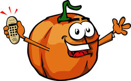 Pumpkin holding ringing phone Royalty Free Stock Images