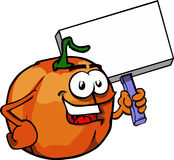 Pumpkin holding sign Royalty Free Stock Images