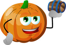 Pumpkin holding a small barrel Royalty Free Stock Photography