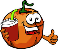 Pumpkin holding soda and showing thumb up sign Royalty Free Stock Photography