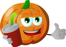 Pumpkin holding soda and showing thumb up sign Stock Images