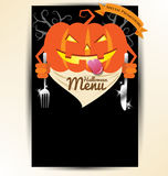 Pumpkin holding spoon and knives for halloween party menu Royalty Free Stock Photo