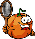 Pumpkin holding a tennis rocket Stock Photo
