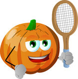 Pumpkin holding a tennis rocket Stock Image