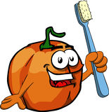Pumpkin holding tooth brush Royalty Free Stock Photos