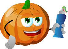 Pumpkin holding toothpaste Royalty Free Stock Images